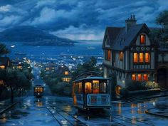 Streetcars on a rainy night ...