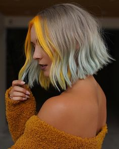 Yellow Hair Color, Hair Dye Colors, Balayage Lob, Lob Hairstyle, Cool Hairstyles, Aesthetic Hair, Ombre Hair, Ombre Short Hair, Hair Looks