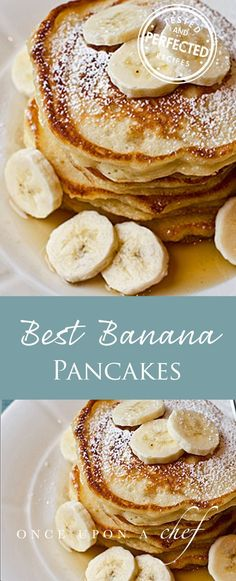 Fluffy on the inside, crispy on the outside, and delicately flavored with bananas and vanilla — these are phenomenal banana pancakes. The recipe, believe it or not, is adapted from a Williams Sonoma children's cookbook, which only proves how easy they are to make. #pancakes #breakfast #testedandperfected