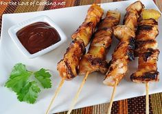 BBQ chicken and pineapple skewers.