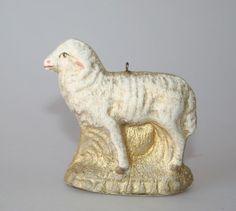 Antique Dresden German Pressed Card Lamb Ornament, c. 1900