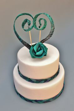 My favourite colour at the moment - and a touch of kiwi...  2 Tier Flaxation Wedding Cake $550 10 and 8 inch