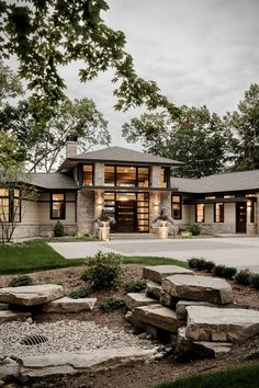 38 modern houses most popular exterior design exterior renovation ideas 22 Stone Exterior Houses, Dream House Exterior, Stone Houses, Wall Exterior, Stone Home Exteriors, Home Exterior Design, Modern Farmhouse Exterior, Farmhouse Design, Farmhouse Ideas