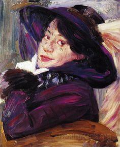 Portrait of a Woman in a Purple Hat Lovis Corinth