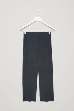 COS image 2 of Straight-leg silk trousers in Navy