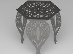 Hexagon Flower Table with Traditional Ornamental Style Scroll Legs-dxf files – DXFforCNC.com