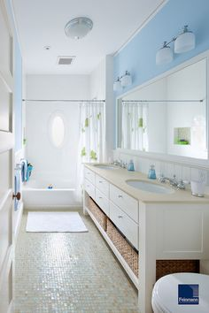 A palette of soft blues, such as Breath of Fresh Air, with white is currently popular in bathrooms for a reason. It imparts a clean look and a soothing, spa-like vibe.