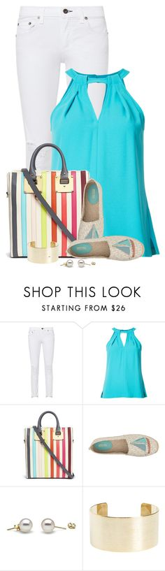 """""""Sophie Hulme 'Cromwell Mini' Rainbow Stripe Canvas Tote"""" by colierollers ❤ liked on Polyvore featuring rag & bone, Trina Turk, Sophie Hulme, MICHAEL Michael Kors and Panacea"""