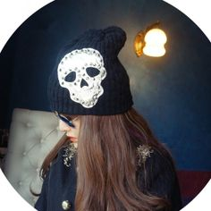 Men women lovers black rock skeleton rivet punk ghost knitted hat  Material: cotton polyester blended Style: street hipsters Details: rivet, skull NO:san3831 Feature:adjustable,suit for most more skull skeleton unique creative please visit my store:  http://skulltribe.storenvy.com/