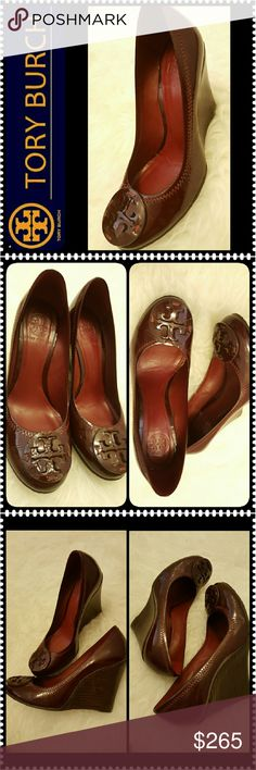 Tory Burch Leather Wedge Tory Burch Designer Shoes, a Rare Find in Limited Edition Patent Leather Wedge! Gorgeous in Deep Cranberry Color, Made in Brazil of Leather Upper and Lining!  Excellent Used Condition  (Like New!), About 3.5 inches Wedge, Comes with a Dust Bag, Perfect for Everyday Work Shoes or Night Out - a Must Have for Every Tory Lover!!! Tory Burch Shoes Wedges