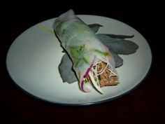 Thai beef spring roll filled with bean thread noodles, red onion, blanched carrots, cilantro, bean sprouts, and jalapenos.  Best served with a peanut dipping sauce or good old Sriracha.