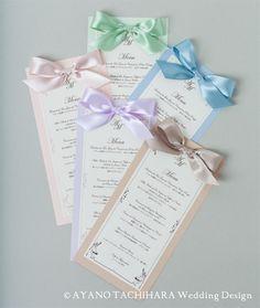 メニュー Menu card by AYANO TACHIHARA Wedding Design