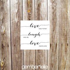 Live Laugh Love    Nursery Art | Wall Art | Subway Art | 4x4 | 6x6 | 8x8 | 10x10 #gemberlelie #live #laugh #love #squareprint #quote