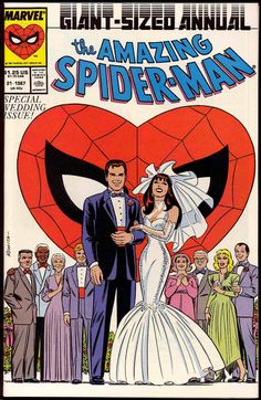"""Chuck's Stuff has this 1987 """"Amazing Spider-Man Annual"""" #21 Marvel comic book for sale for $6. Near Mint. Wedding of Peter Parker and Mary Jane Watson, Peter in tux cover. #comicbooks"""
