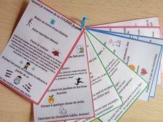Je vous propose des petites fiches type marque page avec des stratégies de gestion émotionnelle pour les enfants. Chaque fiche correspond à un état émotionnel difficile à gérer et quelques stratégies pour y faire face (colère, tristesse, peur, stress, jalousie, découragement, timidité, honte).