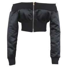 kKissb Hats Black And Kakhi Off Shoulder Cropped Bomber Jacket Women Zip up Front and Back Long Sleeve High Street Style Coats - Model Number: Off Teen Fashion Outfits, Edgy Outfits, Mode Outfits, Fashion Top, Fashion Black, Fashion Dresses, Off Shoulder Jacket, Shoulder Sleeve, White Cropped Jacket