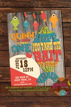 Fishing Birthday Party Invitation - Fish, Camping, Fishing, Bait, 1st Birthday, Reel in the Big One Colorful Fishing Birthday Invite-any age by InvitasticInvites on Etsy https://www.etsy.com/listing/278842118/fishing-birthday-party-invitation-fish