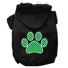 Basic Dog Hoodie (Screen Print) - Swiss Dots Paw in Green