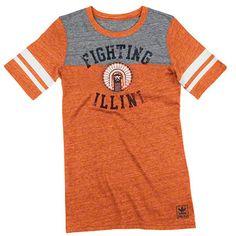 Illinois Fighting Illini Women's Orange Gym Class Chief Illiniwek Sporty Football Tri-Blend T-Shirt