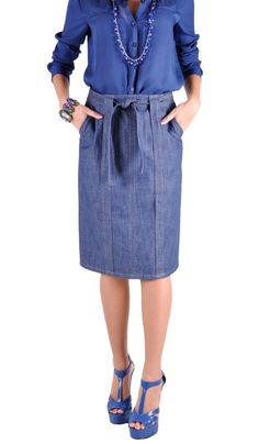 "Skirt details: * knee length 24.5"" * regular straight fit * non-stretch light weight blue denim * two side pockets * back zipper * removable matching denim belt * pencil style skirt & back slit 8"" * f"