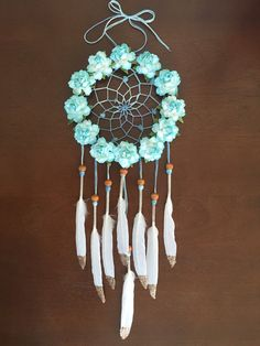 5 Inch Aqua Blue Roses with Glitter Dream Catcher by  DreamDen #dreamcatcher