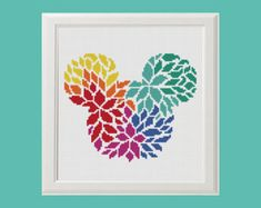 Floral Disney castle flowers silhouette Disney Cross Stitch