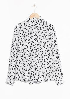 & Other Stories image 1 of Silk Shirt  in Polka Dot / White