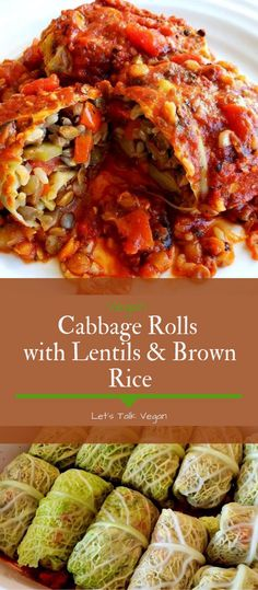 Vegan Cabbage Rolls with Lentils & Brown Rice Food Recipes Easy, Food Recipes Deserts Vegan Cabbage Recipes, Vegetarian Cabbage Rolls, Healthy Recipes, Veggie Recipes, Seafood Recipes, Whole Food Recipes, Vegetarian Recipes, Cooking Recipes, Rice Recipes