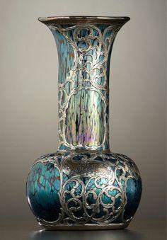 AN AUSTRIAN SILVER OVERLAY ART GLASS VASE  Attributed to Glasfabrik Johann Loetz Witwe, Klostermuehle, Austria, circa 1900
