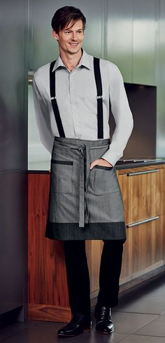 This Short Denim Apron with Pockets has combined modern fabrics with functionality ♥ #Denim #Aprons #Hospitality