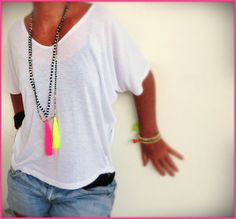 Black and white Tassel necklace with neon pink