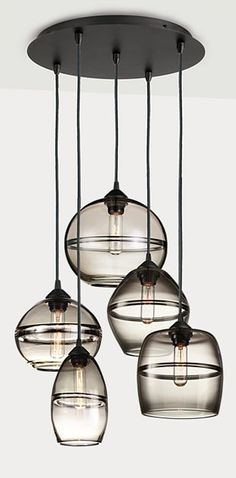 Blown Glass Chandelier Banded Hand-blown Glass Pendants, Group of Three or Five - Modern Pendants & Chandeliers - Modern Lighting - Room & Board. Blown Glass Chandelier, Pendant Chandelier, Modern Chandelier, Pendant Lighting, Pendant Set, Interior Lighting, Home Lighting, Modern Lighting, Lighting Design