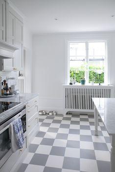 House of Philia Kitchen Art, Kitchen Reno, House Of Philia, Checkerboard Floor, Radiator Cover, House 2, Home Kitchens, Tile Floor, Tiles