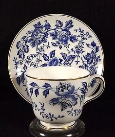 Wedgwood Lotus Flower Cup Saucer Blue White Bone China England Green Urn Mark