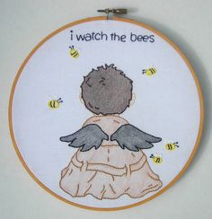 Supernatural Castiel embroidery hoop- Based on artwork from here http://www.redbubble.com/people/thetrickyowl/works/9338517-i-watch-the-bees