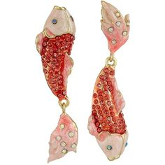 Betsey Johnson Critters Pave Fish Non-Matching Earrings (Coral)... ($55) ❤ liked on Polyvore featuring jewelry, earrings, jewels, betsey johnson earrings, pave charms, post earrings, coral jewelry and coral jewellery
