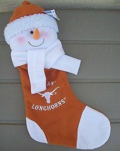 "NEW Texas Longhorns Football Plush Snowman Christmas Stocking 22"" FREE SHIPPING"