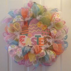 Colorful Deco Mesh Easter Wreath