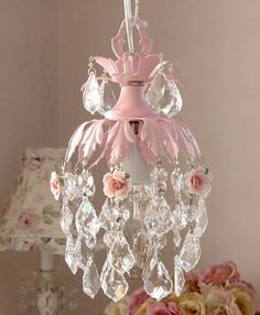 dreamy pink mini chandelier with roses by gingerschoice on Etsy, $105.00