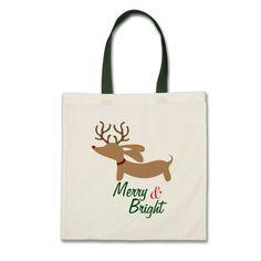 Merry & Bright Dachshund Christmas Tote Bag