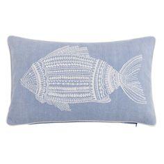 EmbroideRed Blue Cotton Cushion Cover 50 x 30 | Maisons du Monde