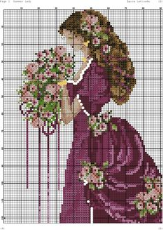 Lady of the Rose- Passione Ricoma also called lady of summer Free Cross Stitch Charts, Cross Stitch Borders, Cross Stitch Rose, Cross Stitch Baby, Cross Stitch Flowers, Cross Stitch Designs, Cross Stitching, Cross Stitch Embroidery, Cross Stitch Kitchen
