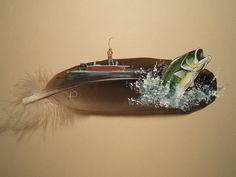 Bass Fishing painted on feather  www.TelascoGallery.com Hand painted one of a kind.  Matted and framed.