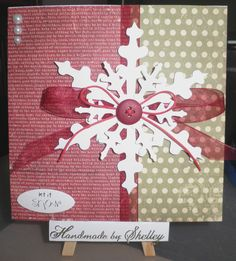 25 Days Of Christmas paper pad by Simple Stories. Snowflakes by Craftwork Cards. Button by Woodware. Pearls by Meiflower. Greeting by Craftwork Cards.