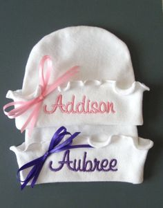 Super cute!!!  Personalized Custom Boutique Girly Girl RUFFLED NEWBORN HATS, Two Hats for Twins, Hospital Hat,  Beanie Hat, Name Reveal by Lizzie Roda on etsy