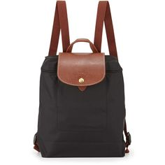 Longchamp Le Pliage Nylon Backpack ($130) ❤ liked on Polyvore featuring bags, backpacks, accessories, bolsas, bolsos, black, longchamp bag, top handle bags, zip top bag and nylon bag