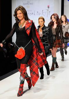 """Amy Grant Photos - Singer Amy Grant walks the runway at the Annual """"Dressed To Kilt"""" charity fashion show at Hammerstein Ballroom on April 2011 in New York City. - Annual Dressed To Kilt Charity Fashion Show - Runway Scottish Dress, Scottish Plaid, Scottish Fashion, Tartan Sash, Tartan Dress, Tartan Mode, Tweed, Style Anglais, Tartan Fashion"""