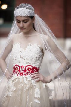 Red embroidery belt by AtelierDeCoutureJK on Etsy, €150.00