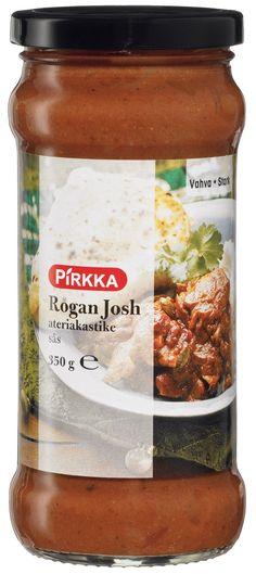 Pirkka Rogan Josh ateriakastike on täyteläinen, vahva intialainen kastike aterialle. Kätevä kastike on lämmitystä vaille valmis. Kokeile kastikkeen kanssa erilaisia lisäkkeitä.