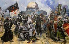 Jerusalem - Allegorical oil painting of Templars & Saracens on Temple Mount